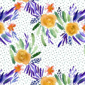 Mustard and purple flourish watercolor pattern - flowers and roses - florals painterly