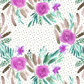 Flourish violet watercolor pattern - flowers and roses - florals painterly