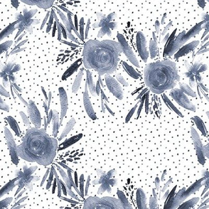 Indigo flourish watercolor pattern - flowers and roses - florals painterly