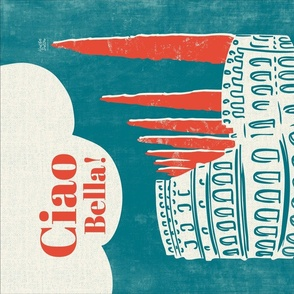 Ciao Bella Roma - Vintage Travel Poster Tea Towel - Turquoise Red
