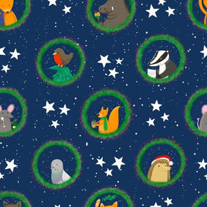 Christmas animals in wreaths