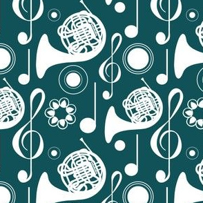 French Horn Notes - Teal