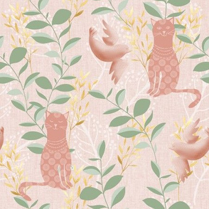 Blush cat and bird