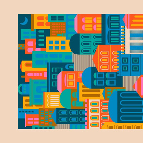 Vintage Travel Geometric City Landscape at Night in Bright Colours - UnBlink Studio by Jackie Tahara