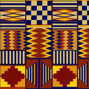 Tribal Folk Art - Rust Navy Yellow