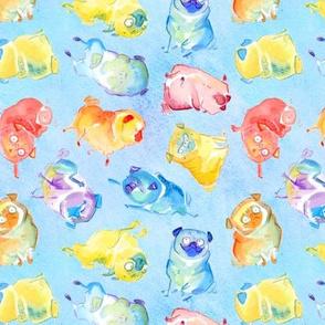 Rainbow Watercolor Pugs - textured blue