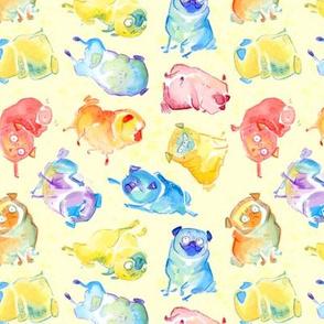 Rainbow Watercolor Pugs - textured light yellow