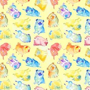 Rainbow Watercolor Pugs - textured yellow