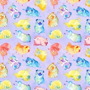 Rainbow Watercolor Pugs - textured lavender