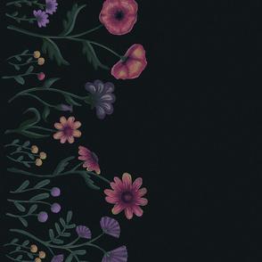Wildflowers on Dark Forest Green