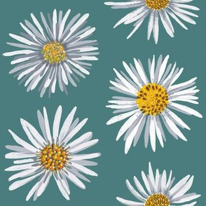 white asters on green dense
