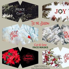 Tis the Season holidays face masks cut and sew panel
