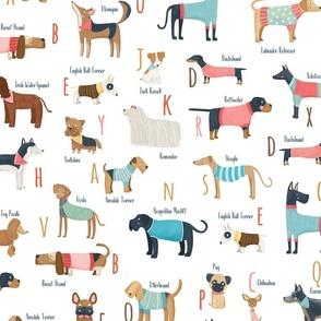 Dog alphabet with clothes