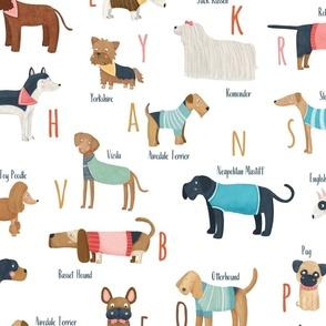 Big scale Dog breeds alphabet