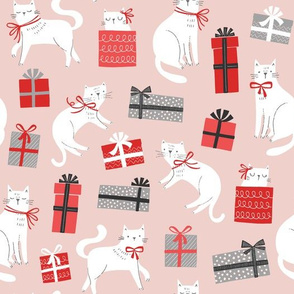 Christmas Cats & Presents in Pink