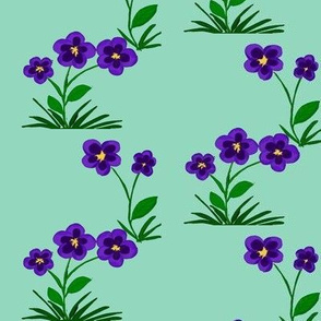 Purple Fantasy Flowers on Sea Spray Aqua