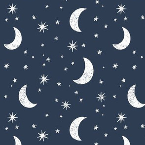 Night Sky In Navy and White
