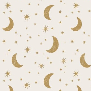 Moon and Stars in Cream and Gold