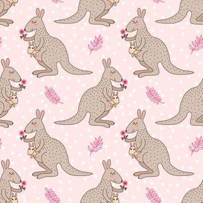 Kangaroo with a baby - pink