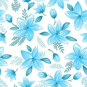Floral pattern - blue white