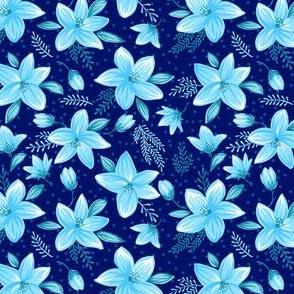 Floral pattern - dark blue