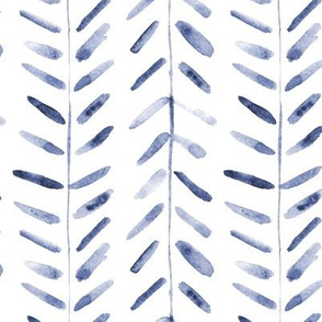 Indigo watercolor abstract geometrical pattern for modern home decor bedding nursery painted brush strokes herringbone