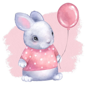 Bunny in pink. Fat quarter