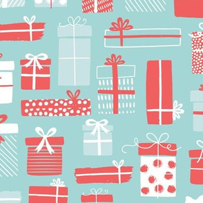 Christmas Presents in Blue and Red -  large scale