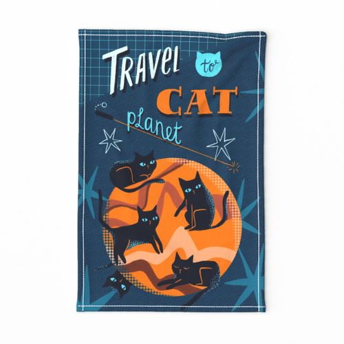 Travel-to-cat-planet-teatowell-blue