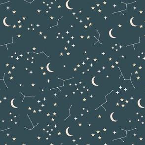 Hand drawn constellation stars and moon phase universe nursery boho design neutral stone blue gray beige