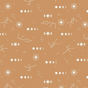 Astrophysics stars moon phase and sunshine boho design nursery neutral burnt orange cinnamon
