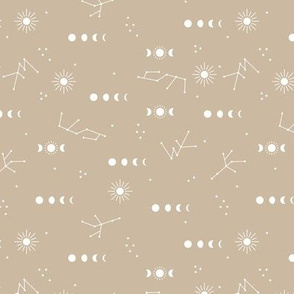 Astrophysics stars moon phase and sunshine boho design nursery neutral soft beige sand pastel