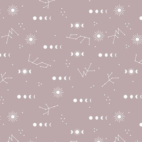 Astrophysics stars moon phase and sunshine boho design nursery neutral mauve lilac purple night girls