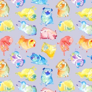 Rainbow Watercolor Pugs - flat lavender