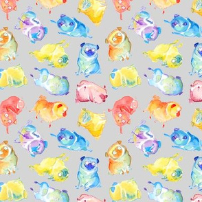 Rainbow Watercolor Pugs - gray