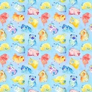 Rainbow Watercolor Pugs - tan