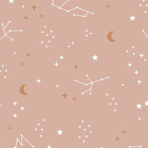 Astrophysics stars and moon boho universe science design nursery neutral soft beige coral golden LARGE