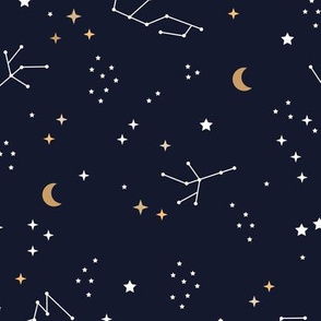 Astrophysics stars and moon boho universe science design nursery neutral navy blue night golden LARGE
