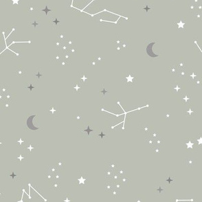 Astrophysics stars and moon boho universe science design nursery neutral soft sage green gray LARGE