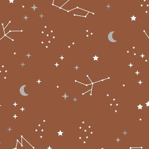 Astrophysics stars and moon boho universe science design nursery neutral copper rust brown LARGE