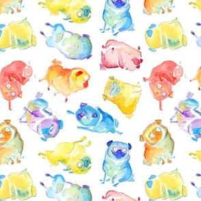 Rainbow Watercolor Pugs - white