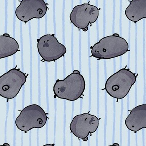 Pinstripe Black Pugs v2 - blue