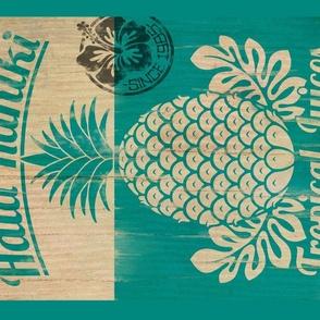 Hawaiian Hala Kahiki tea towel