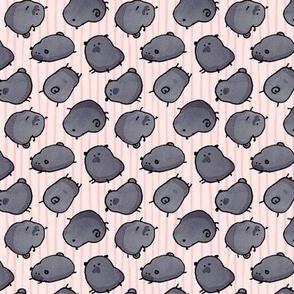 Pinstripe Black Pugs - pink