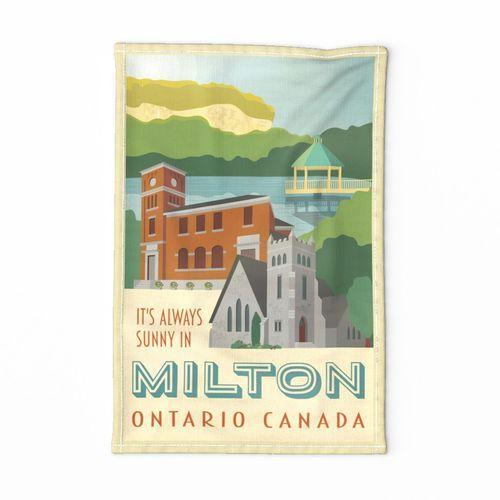 It's Always Sunny in Milton - Vintage Travel Tea Towel