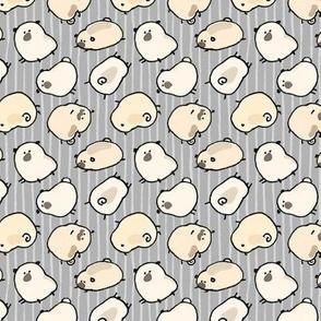 Pinstripe Pugs - gray