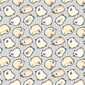 Pinstripe Pugs - lt. gray
