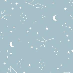 Astrophysics stars and moon boho universe science design nursery neutral soft blue LARGE