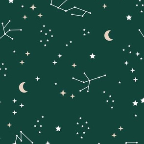 Astrophysics stars and moon boho universe science design nursery neutral forest green LARGE