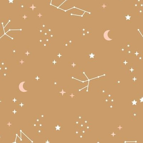 Astrophysics stars and moon boho universe science design nursery neutral mustard yellow curcuma LARGE